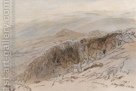 A view of Pauna, in the Ionian Islands by Edward Lear - Reproduction Oil Painting