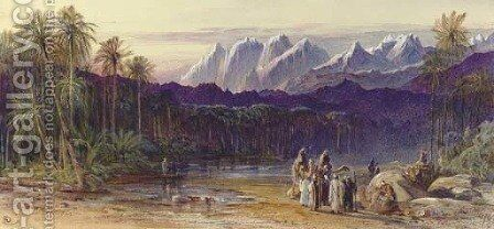 An Arab Encampment in Wadi Feiran, Egypt by Edward Lear - Reproduction Oil Painting