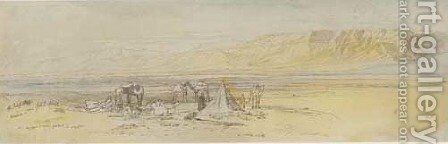 An encampment at sunrise, Gebel Alaka, Suez, Egypt by Edward Lear - Reproduction Oil Painting