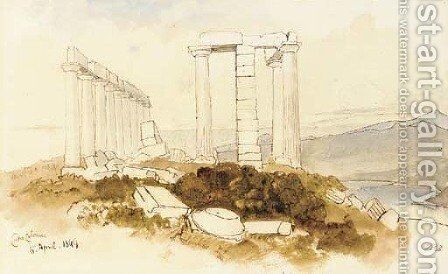 Capo Colonna by Edward Lear - Reproduction Oil Painting