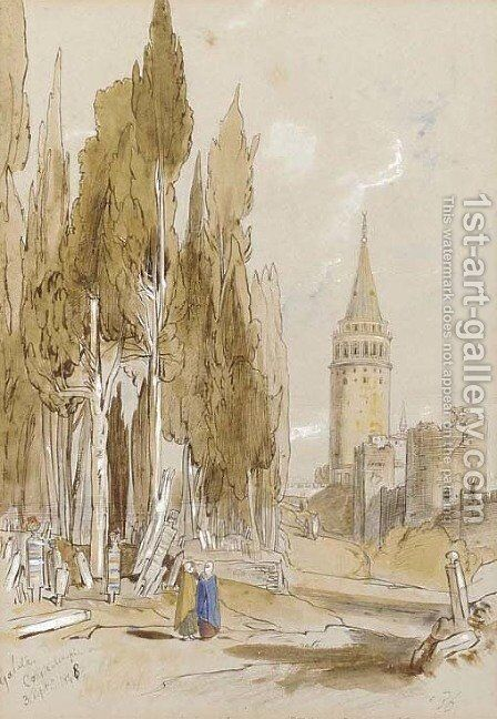 Galata, Constantinople by Edward Lear - Reproduction Oil Painting