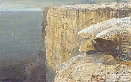 Garf Hassan Rocks, Malta by Edward Lear - Reproduction Oil Painting