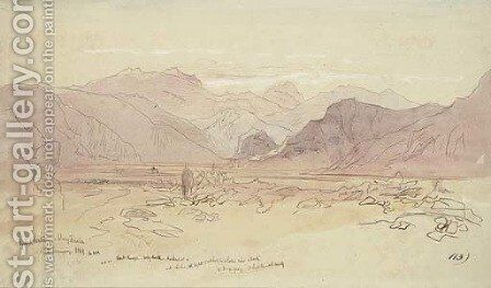 Gebal Serbal and Wady Feiran, on the Sinai Peninsula by Edward Lear - Reproduction Oil Painting