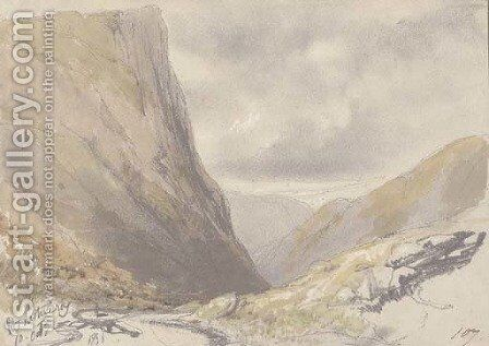 Honiston Crag, near Buttermere, Cumbria by Edward Lear - Reproduction Oil Painting