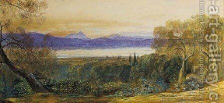Lake of Halikiopoulos, Corfu by Edward Lear - Reproduction Oil Painting