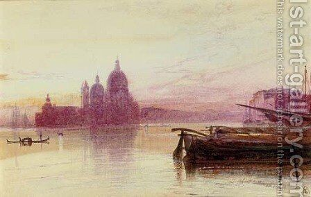 Santa Maria della Salute, seen at sunset from the Riva degli Schiavoni, Venice by Edward Lear - Reproduction Oil Painting
