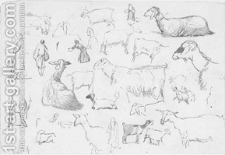Studies of sheep and herdsmen by Edward Lear - Reproduction Oil Painting