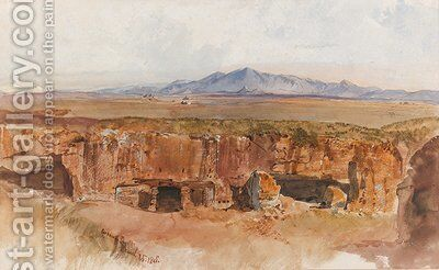 The Roman Campagna, possibly from Centocelle by Edward Lear - Reproduction Oil Painting