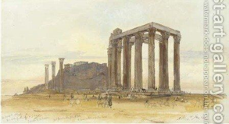 The Temple of Olympian Zeus with the Acropolis beyond, Athens by Edward Lear - Reproduction Oil Painting