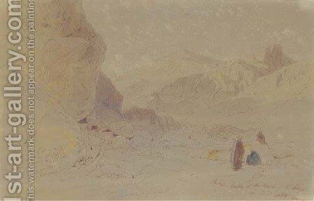 Thebes, Valley of the Tombs of the Kings by Edward Lear - Reproduction Oil Painting