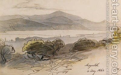 View of Argostoli, Greece by Edward Lear - Reproduction Oil Painting