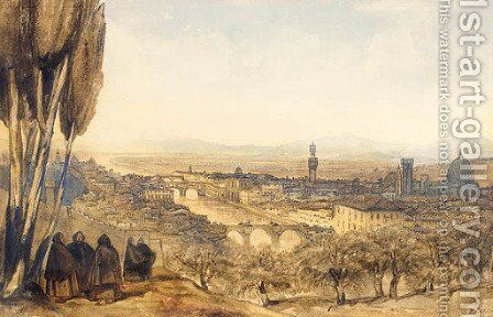 View of Florence from the Basilico, San Miniato al Monte, Monte Cruce by Edward Lear - Reproduction Oil Painting