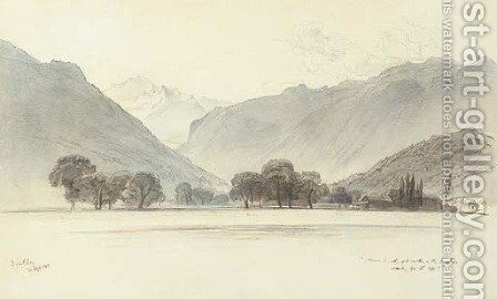 View of Interlaken, Switzerland by Edward Lear - Reproduction Oil Painting