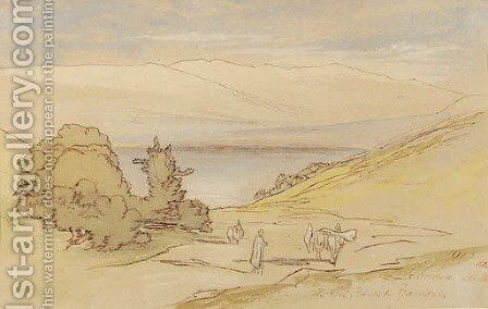 View of Lebanon, with a muleteer in the foreground and an extensive lake view beyond by Edward Lear - Reproduction Oil Painting