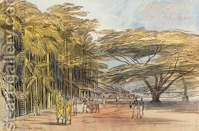 View of Ratnapura, Ceylon by Edward Lear - Reproduction Oil Painting