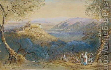 View of the Castello Caetani and the hill-town of Sermoneta, Lazio, Italy by Edward Lear - Reproduction Oil Painting