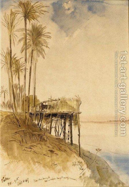 View of Toske on the Upper Nile by Edward Lear - Reproduction Oil Painting