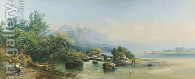 View of Bacharach on the Rhine, Germany by Edward M. Richardson - Reproduction Oil Painting