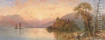 A calm evening on the loch by Edward M. Richardson - Reproduction Oil Painting