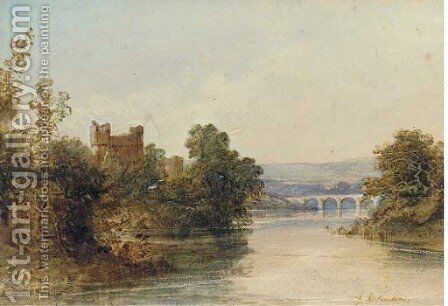 Castle ruins on the banks of a river, a bridge beyond by Edward M. Richardson - Reproduction Oil Painting