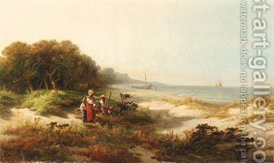 Figures along the Coast by Edward Moran - Reproduction Oil Painting