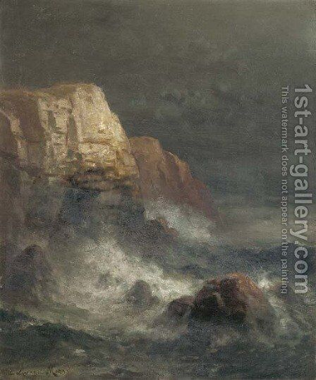 Rocky Coast by Edward Moran - Reproduction Oil Painting