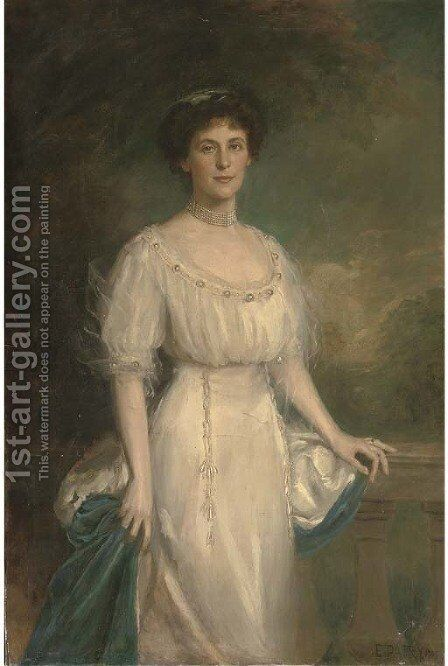 Portrait of a lady, three-quarter-length, in a white dress and ermin trimmed cloak by Edward Patry - Reproduction Oil Painting