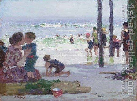Beach Scene 2 by Edward Henry Potthast - Reproduction Oil Painting