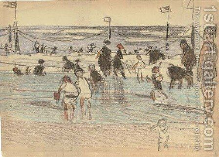 Figures at the Beach by Edward Henry Potthast - Reproduction Oil Painting