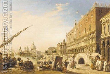 The Riva degli Schiavoni with the Doge's Palace looking towards the Church of Santa Maria della Salute, Venice by Edward Pritchett - Reproduction Oil Painting