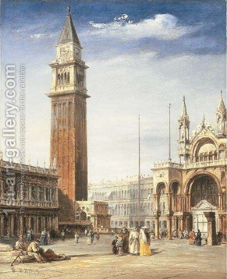 Venice View Of The Piazzetta, San Marco, Looking Towards The Piazza by Edward Pritchett - Reproduction Oil Painting