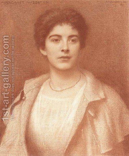 Portrait of Margaret Webster, half-length by Edward Robert Hughes - Reproduction Oil Painting
