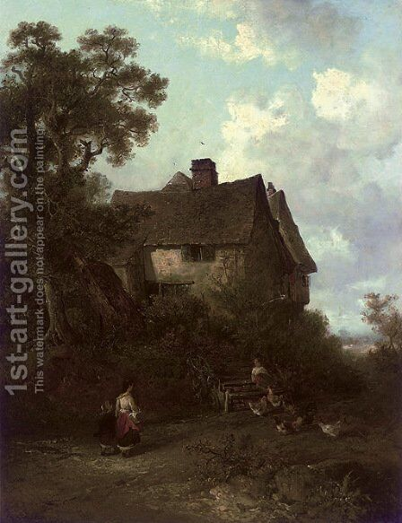 Figure before a cottage by Edward Robert Smythe - Reproduction Oil Painting