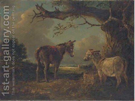 Two donkeys in a landscape by Edward Robert Smythe - Reproduction Oil Painting