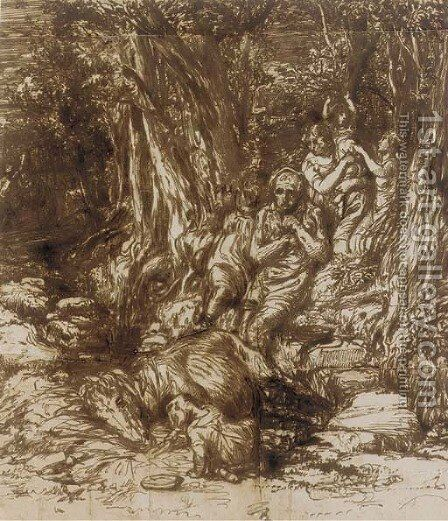 Hagar and Ishmael beside a well in the desert by Edward Stott - Reproduction Oil Painting