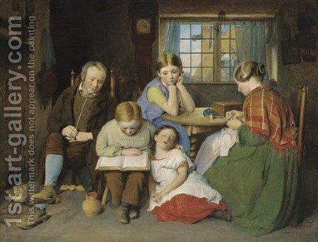 The Evening Lesson by Edward Thompson Davis - Reproduction Oil Painting
