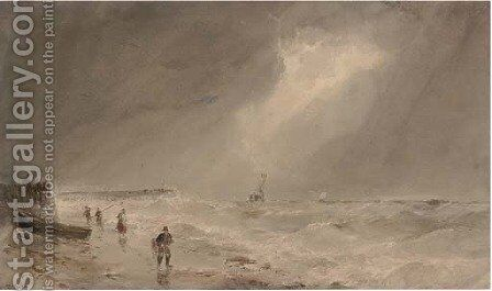 Fishermen on the beach, a swell brewing offshore by Edward Tucker - Reproduction Oil Painting