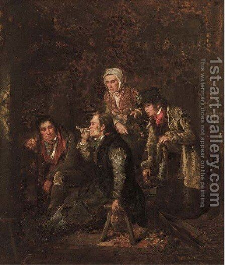 A fireside tale by Edward Villiers Rippingille - Reproduction Oil Painting