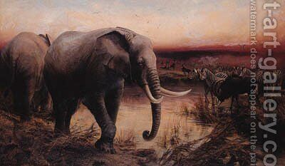 Elephants, Sable Antelope and Zebras at a Waterhole - Sunset by Edward Whymper - Reproduction Oil Painting