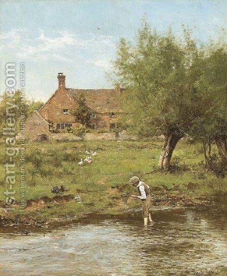 Catching sticklebacks by Edward Wilkins Waite - Reproduction Oil Painting