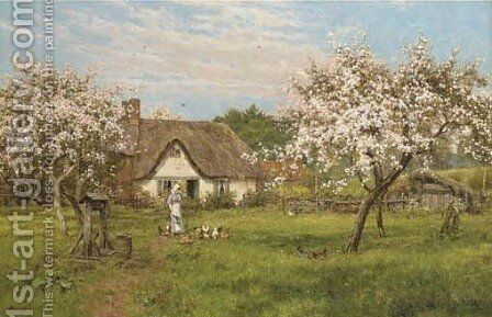 In the Orchard by Edward Wilkins Waite - Reproduction Oil Painting