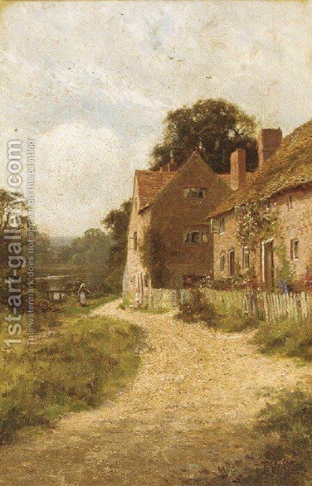 Sunlit cottages by Edward Wilkins Waite - Reproduction Oil Painting