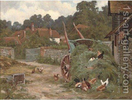 The farmyard by Edward Wilkins Waite - Reproduction Oil Painting