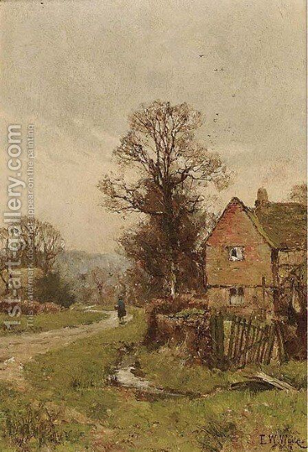 A figure on a country lane by Edward Wilkins Waite - Reproduction Oil Painting