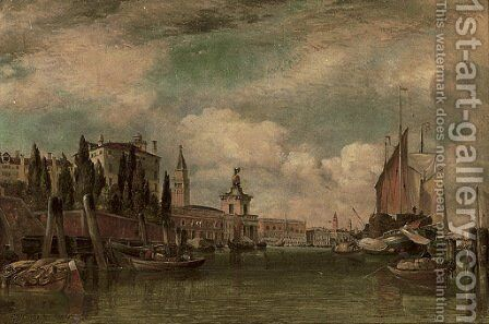 A view across the Canale della Giudecca towards Porto Franco and the Dogana, Venice by Edward William Cooke - Reproduction Oil Painting