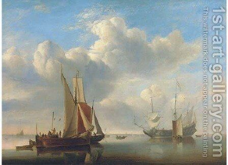 A wijdschip and a kaag under sail in a very light air by Edward William Cooke - Reproduction Oil Painting