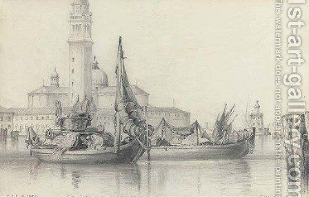 Fishing craft on the Lagoon, Venice, before San Giorgio Maggiore by Edward William Cooke - Reproduction Oil Painting