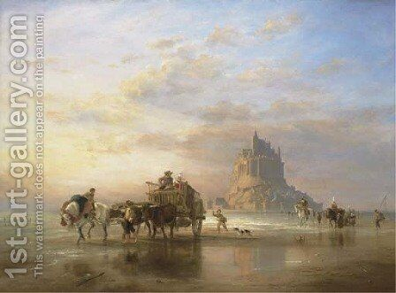 Mont St. Michel, Peasants returning to Pontorson on the Approach of the Tide by Edward William Cooke - Reproduction Oil Painting