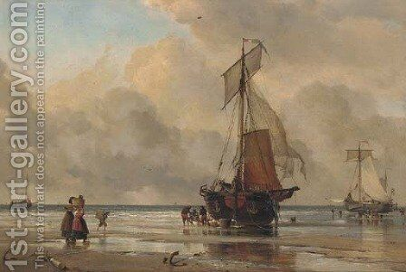 On the sands at Scheveningen by Edward William Cooke - Reproduction Oil Painting