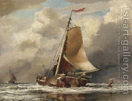 Scheveling Landing fish, coast of Holland by Edward William Cooke - Reproduction Oil Painting